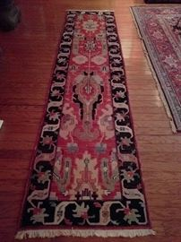 "Lovely handwoven, 100% wool runner, measures 3' 2"" x 13' 6"""