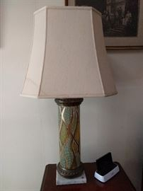 New shades needed, but this pair of glass lamps, w/white marble bases rule!