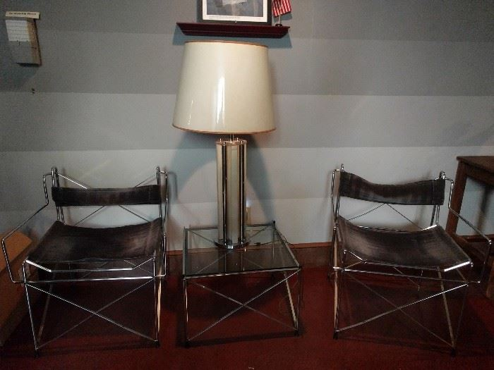 FABBY 3-piece MCM chrome chairs/table, in the style of Paolo Piva + cool, swanky lamp!