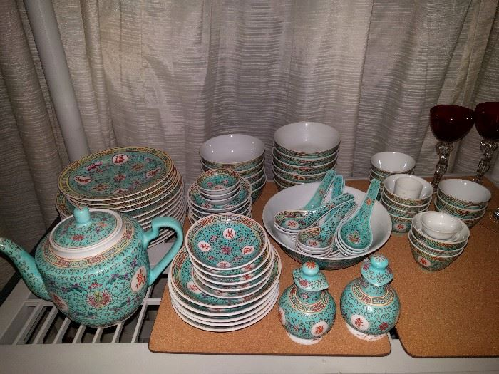 81-Piece set of beautiful turquoise A.C.F. china