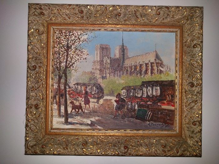 Small, but very good Parisian street scene, artist signed, original oil on canvas, nicely framed.