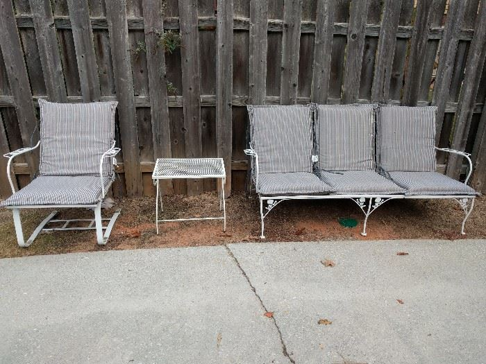 Vintage metal outdoor patio set, with couch, rocking seat chair and side table; all new cushions.