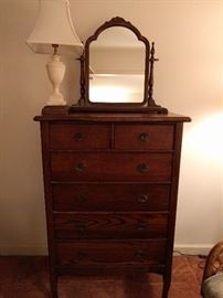 Vintage oak dresser, with vintage swivel shaving mirror, small marble table lamp.