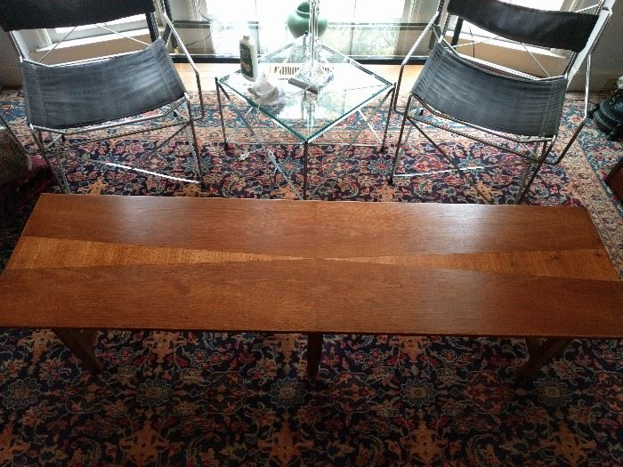 "Wonderful MCM ""surfboard"" coffee table, pristine estate condition; marked ""368 Table""."