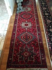 "Beautiful Persian Karaja runner, 100% wool, hand woven, measures 11' 4"" x 2' 8""."