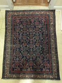"Cute, little Persian Hamadan, 100% wool, hand woven, measures 4' 2"" x 3' 4""."