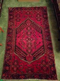 "Tribal Kurdish Bidjar rug, 100% wool, hand woven, measures 3' 9"" x 6' 5""."