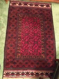 "This is one cool rug! This one is from Pakistan, is a Balouchi, measuring 3' 10"" x 6' 1"".                                     The ends have braille weaving for the handicapped."