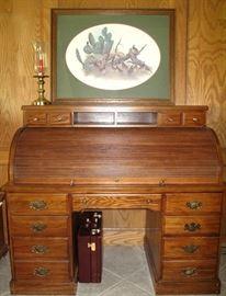Great Vintage Oak Roll Top Desk