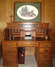 Great Vintage Roll Top Oak Desk = Open View
