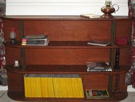 "Art Deco Mahogany 4-Shelf Bookcase with Brass Tubing Shelf Seperators  (60""W x 38""H x 10""D)"