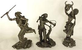 "Jim Ponter Pewter Sculptures:  ""Cheyenne Brave"", ""Sioux Hunter"" and Medicine Man ""Prayer to the Healing Spirit"""