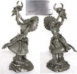 """Jim Ponter Pewter Sculpture Medicine Man """"Prayer to the Healing Spirit"""". Photo has view of front and back.(13""""H x 4""""W x 7""""D)"""