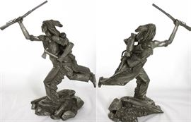 """Jim Ponter Pewter Sculptures:  """"Cheyenne Brave"""" photo with front & back view (12""""H x 10""""W)"""