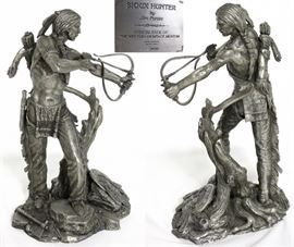 """Jim Ponter Pewter Sculptures:  """"Sioux Hunter"""" ' photo has view of front and back (10""""H x 6""""W x 5""""D)"""