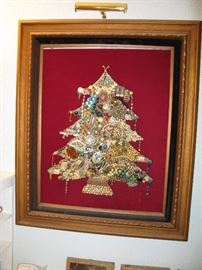 THIS WAS MADE SPECIAL FOR JO AND WAS HER FAVORITE PIECE.  IT IS ANTIQUE COSTUME JEWELRY MADE INTO A COLLAGE TREE.  IT MEASURES ABOUT 22 X 30.  THIS SPECIAL ITEM WILL BE SOLD BY SEALED BIDS SO SEE BRAD TO PUT YOUR NUMBER IN.   SEE IT IN PHOTO 33 ALSO