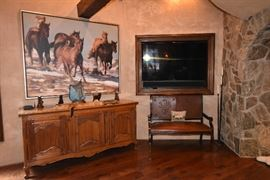 """Sony Flat Screen TV, Tooled Leather Bench, Side Board, Ray Hare """"Leaving Winter,"""" Dave McGary Grandmothers Heirloom, Other Bronze Sculptures"""