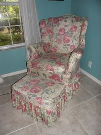Chintz arm chair and matching ottoman
