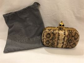 Alexander McQueen snakeskin clutch, brand new
