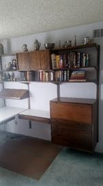 Mid Century Modern floating desk and bookcase