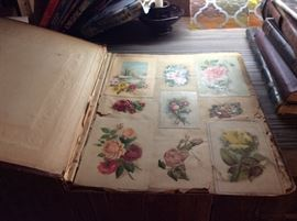 SEVERAL SCRAP BOOKS FILLED WITH VICTORIAN POST CARDS AND VALENTINES