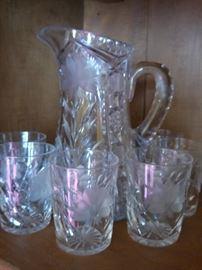 Cut glass pitcher and tumbler set