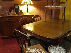 Antique dining set for six with matching sideboard