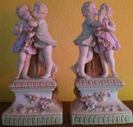 German porcelain bisque museum-mount lamp bases