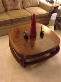 Large coffee table with wood carvings!