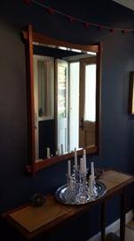 OOAK Hall table and mirror. Hand made inlaid teak.