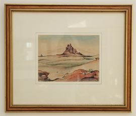 "Thomas Hart Benton original ink and watercolor titled ""Shiprock"". This painting was part of the Alvin Gottlieb Collection that was on display at the Nelson Atkins Museum Of Art in Kansas City and the Smithsonian in Washington DC in the 1990's. Painted in 1951 and measure 8.5""x11"". Professionally framed and in fine condition.  Each painting is priced at $30,000 and will not be discounted with the rest of the house. Bids over $20,000 are encouraged and will be discussed with the owners."