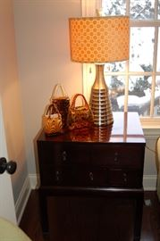 Asian style end table and contemporary lamp (glass purses not for sale)