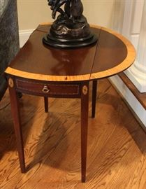 Beautiful Drop Leaf Table with Satinwood Inlay $350