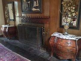 Pair of Bombé Chests with marble tops