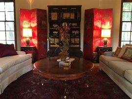 Antique French Victorian table which was cut down to serve as a coffee table.   Pair of Red Lacquer Chinese Screen and an Antique Japanese Hand  Carved Shodana Cabinet, circa 1900