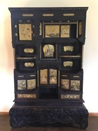 Japanese Hand Carved Shodhana Display Cabinet, circa 1890