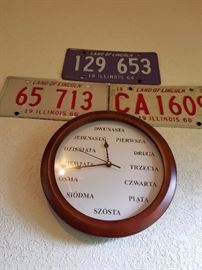 German clock and vintage license plates