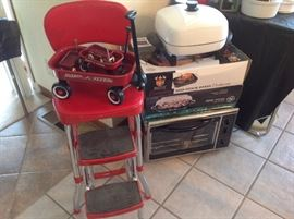 Costco Kitchen Stool, minature red wagon flyer set, electric frying pan, toaster oven, roasting pan