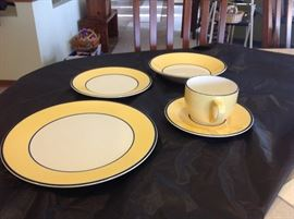 Service for six of yellow Pagnossin Ironstone Dishes from Treviso Italy