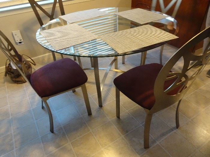 "Glass Top Kitchen Table & 4 Chairs - 48""R X 29""H"