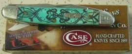 Year 2011 Case XX Muskrat Pocket Knife w/Caribbean Blue Handles. Rare To Find In This Pattern. Mint Condition