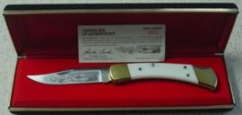 Buck 110 Harley Davidson Early Racers Series Knife In Box w/Paperwork. Limited Edition #2812 of 3000 Made. Hard To Find w/White Handles In This Series.