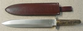 Year 1990 Case XX Rio Grande Spear Point Bowie Knife w/Stag Handles & Sheath. Only Made In 1990