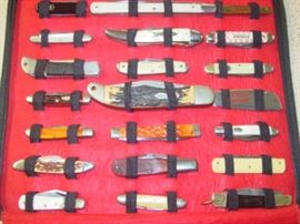 Pouch Of 42 Knives - All Sell As 1 Lot - Many Name Brands Such As Case, Uncle Henry, Camillus, Imperial, Schrade, John Primble, & Many More. Rest Of Knives In Pouch Not Shown.