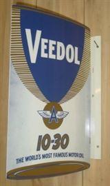 Vintage Metal Veedol Motor Oil Flange Sign
