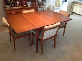 Mid Century Drop Leaf Table / 4 Chairs $ 300.00