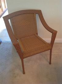 Wicker Style Chair $ 40.00 - second chair $ 40.00 and matching small table $ 40.00 also available.