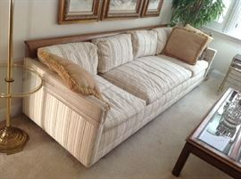 Mid Century Wood Trimmed Sofa - Down filled Cushions $ 280.00
