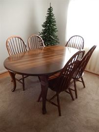 OUTSTANDING SOLID ASH TABLE W/ SIX WINDSOR CHAIRS (ONE WITH ARMS)