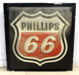 """Vintage Phillips 66 Metal Box Sign with Raised Letters, May Have Once Been Wired, Possibly Back-Lit, 32"""" x 32"""" x 5"""""""